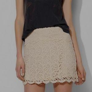NWT UO Pins & Needles Crochet Lace Skirt Ivory XS